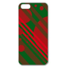 Red And Green Abstract Design Apple Seamless Iphone 5 Case (clear) by Valentinaart