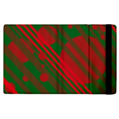 Red And Green Abstract Design Apple Ipad 2 Flip Case by Valentinaart