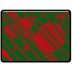 Red And Green Abstract Design Double Sided Fleece Blanket (large)  by Valentinaart