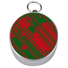 Red And Green Abstract Design Silver Compasses by Valentinaart