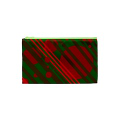 Red And Green Abstract Design Cosmetic Bag (xs) by Valentinaart