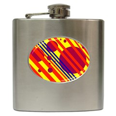 Hot Circles And Lines Hip Flask (6 Oz) by Valentinaart