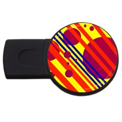Hot Circles And Lines Usb Flash Drive Round (2 Gb)  by Valentinaart