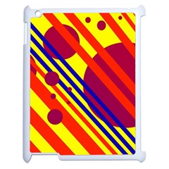 Hot Circles And Lines Apple Ipad 2 Case (white) by Valentinaart