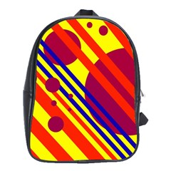 Hot Circles And Lines School Bags (xl)  by Valentinaart
