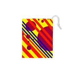 Hot Circles And Lines Drawstring Pouches (xs)  by Valentinaart
