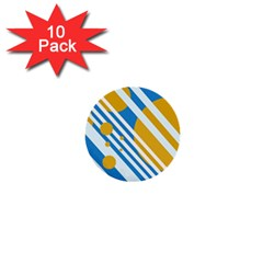 Blue, Yellow And White Lines And Circles 1  Mini Buttons (10 Pack)  by Valentinaart