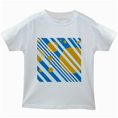 Blue, Yellow And White Lines And Circles Kids White T Shirts by Valentinaart
