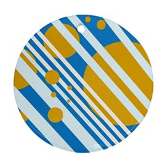 Blue, Yellow And White Lines And Circles Round Ornament (two Sides)  by Valentinaart
