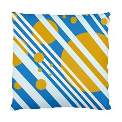 Blue, yellow and white lines and circles Standard Cushion Case (One Side) by Valentinaart