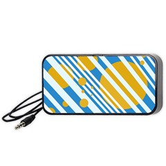 Blue, Yellow And White Lines And Circles Portable Speaker (black)  by Valentinaart