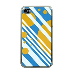 Blue, Yellow And White Lines And Circles Apple Iphone 4 Case (clear) by Valentinaart