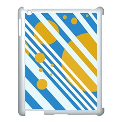 Blue, Yellow And White Lines And Circles Apple Ipad 3/4 Case (white) by Valentinaart