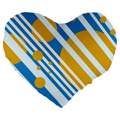 Blue, Yellow And White Lines And Circles Large 19  Premium Heart Shape Cushions by Valentinaart