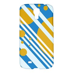 Blue, Yellow And White Lines And Circles Samsung Galaxy S4 I9500/i9505 Hardshell Case by Valentinaart
