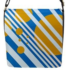 Blue, Yellow And White Lines And Circles Flap Messenger Bag (s) by Valentinaart