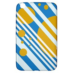 Blue, Yellow And White Lines And Circles Samsung Galaxy Tab 3 (8 ) T3100 Hardshell Case  by Valentinaart