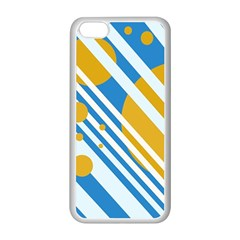 Blue, Yellow And White Lines And Circles Apple Iphone 5c Seamless Case (white)