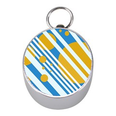 Blue, Yellow And White Lines And Circles Mini Silver Compasses by Valentinaart