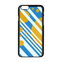 Blue, Yellow And White Lines And Circles Apple Iphone 6/6s Black Enamel Case by Valentinaart