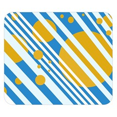 Blue, yellow and white lines and circles Double Sided Flano Blanket (Small)  by Valentinaart