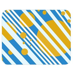 Blue, Yellow And White Lines And Circles Double Sided Flano Blanket (medium)  by Valentinaart
