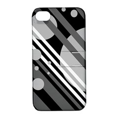 Gray Lines And Circles Apple Iphone 4/4s Hardshell Case With Stand by Valentinaart