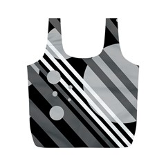 Gray lines and circles Full Print Recycle Bags (M)  by Valentinaart