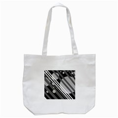 Gray Lines And Circles Tote Bag (white) by Valentinaart