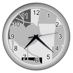 Gray hart Wall Clocks (Silver)