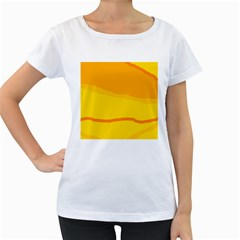 Yellow decorative design Women s Loose-Fit T-Shirt (White) by Valentinaart
