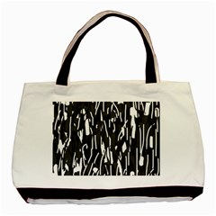 Black And White Elegant Pattern Basic Tote Bag by Valentinaart