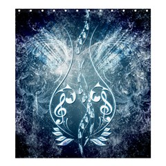 Music, Decorative Clef With Floral Elements In Blue Colors Shower Curtain 66  X 72  (large)  by FantasyWorld7
