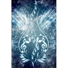 Music, Decorative Clef With Floral Elements In Blue Colors 5 5  X 8 5  Notebooks by FantasyWorld7