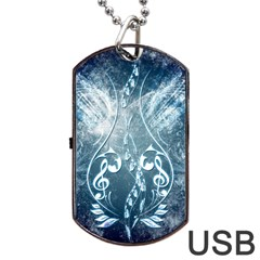 Music, Decorative Clef With Floral Elements In Blue Colors Dog Tag Usb Flash (one Side) by FantasyWorld7