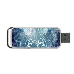 Music, Decorative Clef With Floral Elements In Blue Colors Portable Usb Flash (two Sides) by FantasyWorld7