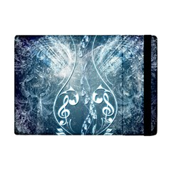 Music, Decorative Clef With Floral Elements In Blue Colors Apple Ipad Mini Flip Case by FantasyWorld7