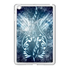 Music, Decorative Clef With Floral Elements In Blue Colors Apple Ipad Mini Case (white) by FantasyWorld7