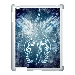 Music, Decorative Clef With Floral Elements In Blue Colors Apple Ipad 3/4 Case (white) by FantasyWorld7