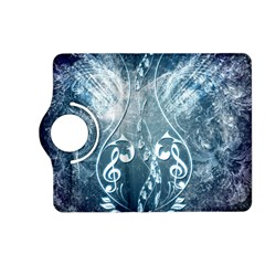 Music, Decorative Clef With Floral Elements In Blue Colors Kindle Fire Hd (2013) Flip 360 Case by FantasyWorld7