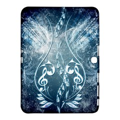 Music, Decorative Clef With Floral Elements In Blue Colors Samsung Galaxy Tab 4 (10 1 ) Hardshell Case  by FantasyWorld7