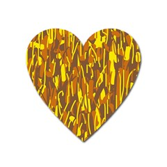 Yellow Pattern Heart Magnet by Valentinaart