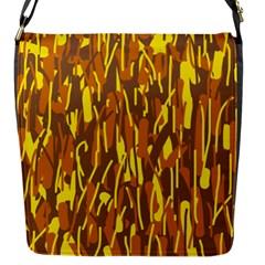 Yellow Pattern Flap Messenger Bag (s) by Valentinaart