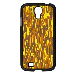 Yellow Pattern Samsung Galaxy S4 I9500/ I9505 Case (black) by Valentinaart