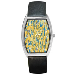 Yellow And Blue Pattern Barrel Style Metal Watch by Valentinaart