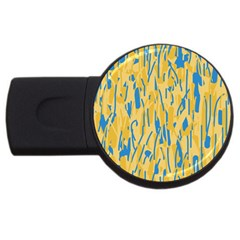 Yellow And Blue Pattern Usb Flash Drive Round (4 Gb)  by Valentinaart