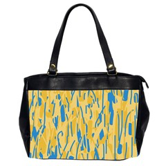Yellow And Blue Pattern Office Handbags (2 Sides)  by Valentinaart