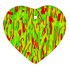Green And Red Pattern Ornament (heart)  by Valentinaart