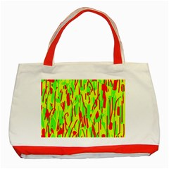 Green And Red Pattern Classic Tote Bag (red) by Valentinaart