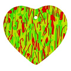 Green And Red Pattern Heart Ornament (2 Sides) by Valentinaart